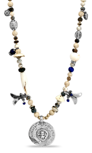 Shiva Riverstone & Lapis Necklace