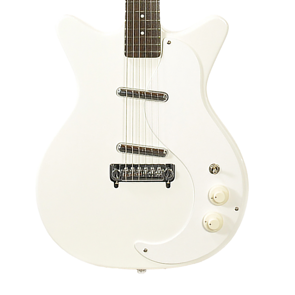 danelectro 39 59m nos double cutaway electric guitar white riff city guitar outlet. Black Bedroom Furniture Sets. Home Design Ideas