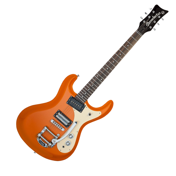 danelectro 39 64 electric guitar with bigsby orange metallic riff city guitar outlet. Black Bedroom Furniture Sets. Home Design Ideas
