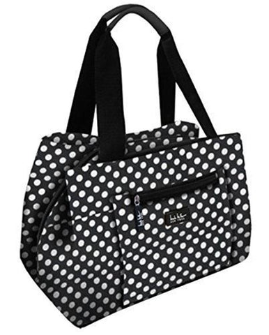 "Nicole Miller of New York Insulated Waterproof 11"" Lunch Box Cooler Bag (Black and White Polka Dot)"