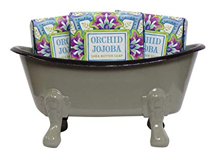 Mini Metal Bathtub Gift Set with 3 Shea Butter Moisturizing Soaps (Multi Distress)