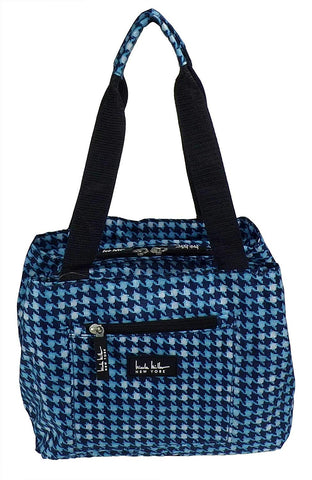 "Nicole Miller of New York Insulated Waterproof Lunch Box Cooler Bag - 11"" Lunch Tote (Blue Houndstooth)"