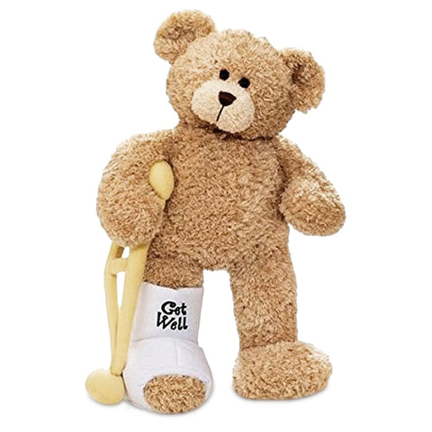 Gund Break a Leg Jr., Broken Leg Bear Get Well Soon Teddy Bear with a Cast, Crutch and Signature Cast 8.5 inches