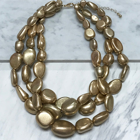 Golden Pebble Necklace