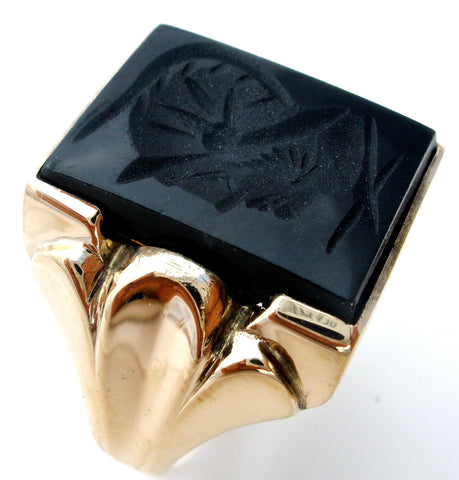 10K Gold Intaglio Black Onyx Soldier Men's Ring the jewelry lady's store