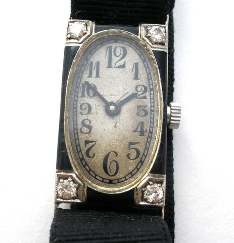 D & L Co 18K Gold Ribbon Watch with Diamonds Art Deco the jewelry lady's store