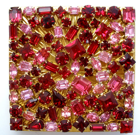 Evans Pink and Red Rhinestone Compact Vintage the jewelry lady's store