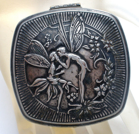 Art Deco Djer Kissing Fairies/Nymphs Silver Compact