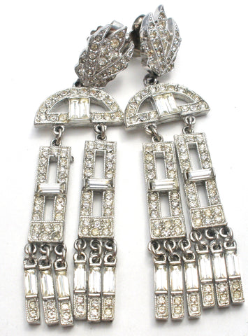 Long clear rhinestone earrings vintage art deco style