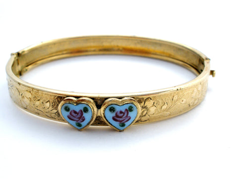 vintage gold filled bangle guilloche enamel hearts