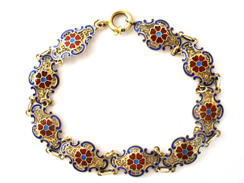 Vintage enameled flower gold over sterling silver bracelet