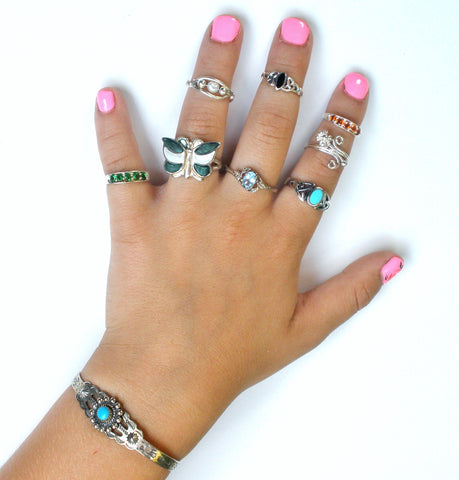 Vintage sterling silver rings turquoise toe midi r