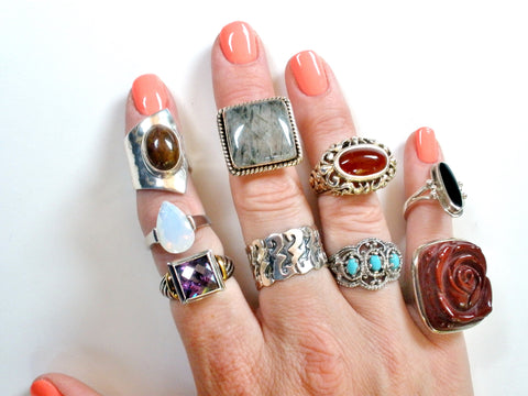 vintage sterling silver gemstone rings - The Jewelry Lady's Store