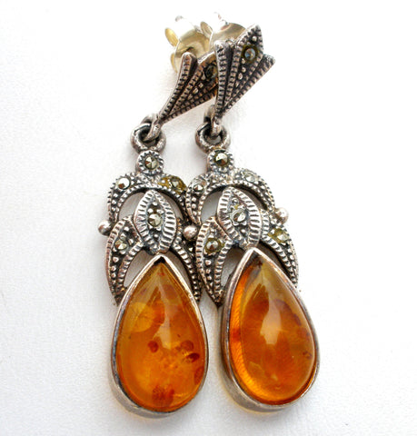 Sterling Silver Amber Earrings with Marcasites Vintage