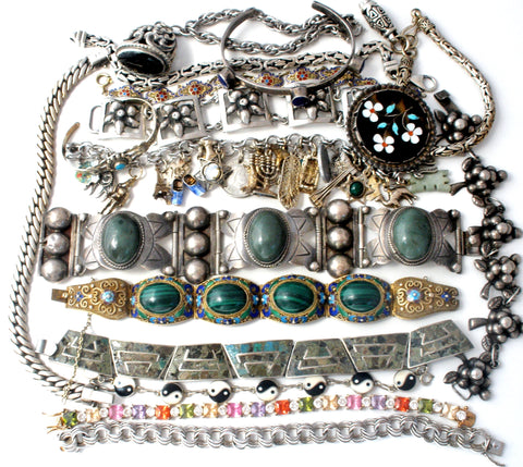 Vintage sterling silver bracelets with gemstones