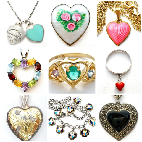 vintage and antique heart jewelry