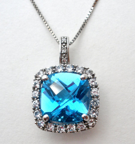 10K Blue Topaz Pendant on 14K Gold Necklace