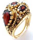14K Gold Garnet Ring Size 8.5 Vintage - The Jewelry Lady's Store