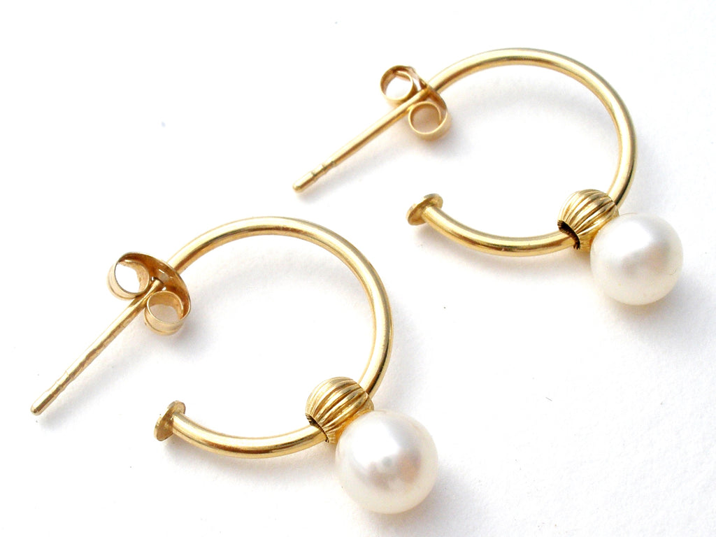 14K Gold Hoop Earrings with Pearl Vintage - The Jewelry Lady's Store
