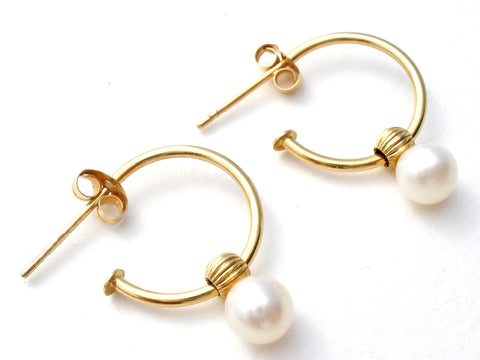 14K Gold Hoop Earrings with Pearl Vintage