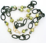 14K Gold Over Sterling Green Pearl Necklace Designs by Veronica - The Jewelry Lady's Store