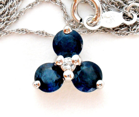 14K White Gold Sapphire & Diamond Necklace Vintage