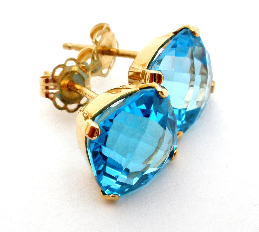 14K Gold Blue Topaz Earrings 5 Cts - The Jewelry Lady's Store
