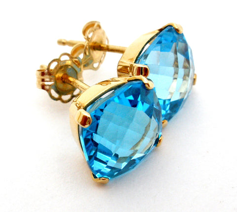 14K Gold Blue Topaz Earrings 5 Cts