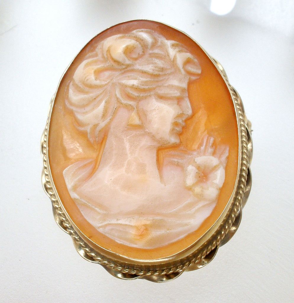 14K Gold Carved Shell Cameo Vintage Pendant Brooch - The Jewelry Lady's Store