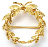 14K Gold Wreath Pendant Brooch Vintage - The Jewelry Lady's Store