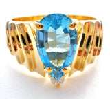 14K Plumb Gold Blue Topaz & Diamond Ring - The Jewelry Lady's Store