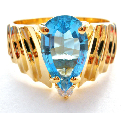 14K Plumb Gold Blue Topaz & Diamond Ring