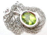 14K White Gold Peridot Pendant Necklace Carla - The Jewelry Lady's Store