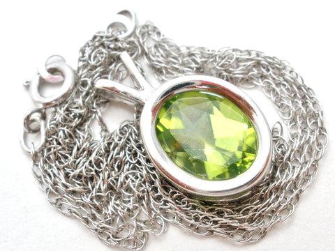 14K White Gold Peridot Pendant Necklace Carla