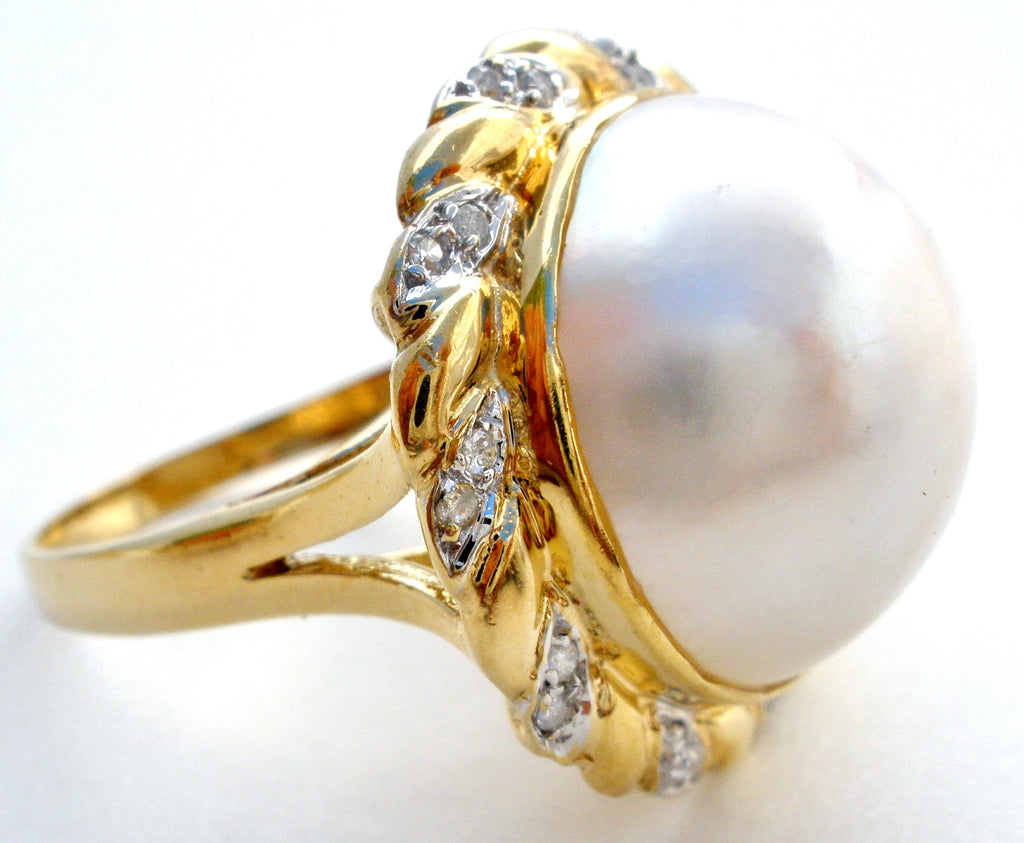 14K Yellow Gold Mabe Pearl & Diamond Ring Vintage - The Jewelry Lady's Store