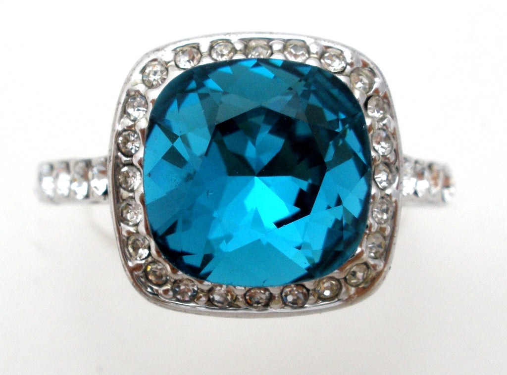 18K Gold Plated Blue CZ Ring Size 10.5 - The Jewelry Lady's Store