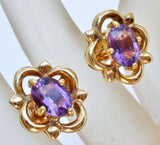 18K Yellow Gold 2.5 Ct Amethyst Earrings - The Jewelry Lady's Store