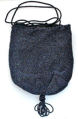 Reticule Purse Drawstring Bag Blue Iridescent Glass Beaded Crocheted Vintage