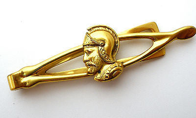 Men's Vintage Roman Soldier Tie Clip Clasp Gold Tone - The Jewelry Lady's Store - 1