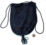 Reticule Purse Drawstring Bag Blue Iridescent Glass Beaded Crocheted Vintage - The Jewelry Lady's Store