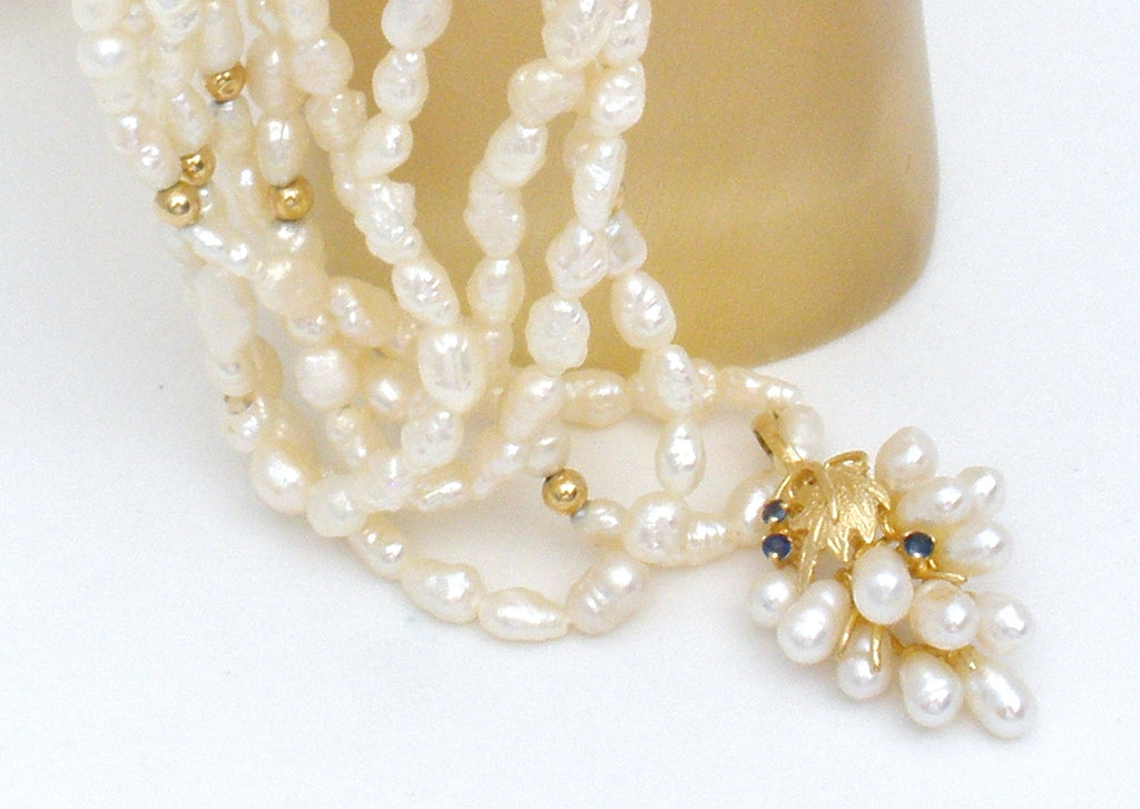 Freshwater Pearl Necklace with Sapphire Enhancer - The Jewelry Lady's Store