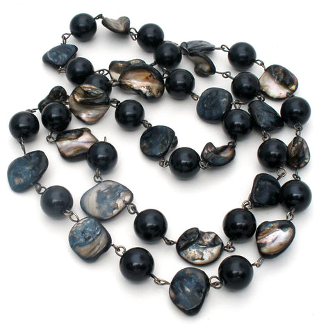 Abalone Shell & Black Onyx Bead Necklace