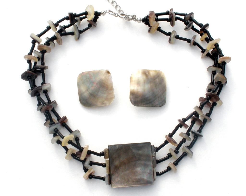 Vintage Abalone SeaShell Necklace & Earrings Set - The Jewelry Lady's Store