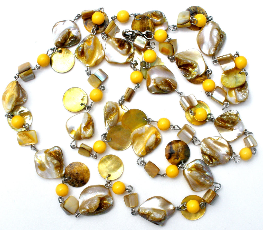 "Abalone Seashell and Yellow Bead Necklace 42"" - The Jewelry Lady's Store"