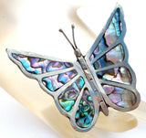 Abalone Shell Butterfly Brooch Pin Sterling Silver Vintage - The Jewelry Lady's Store