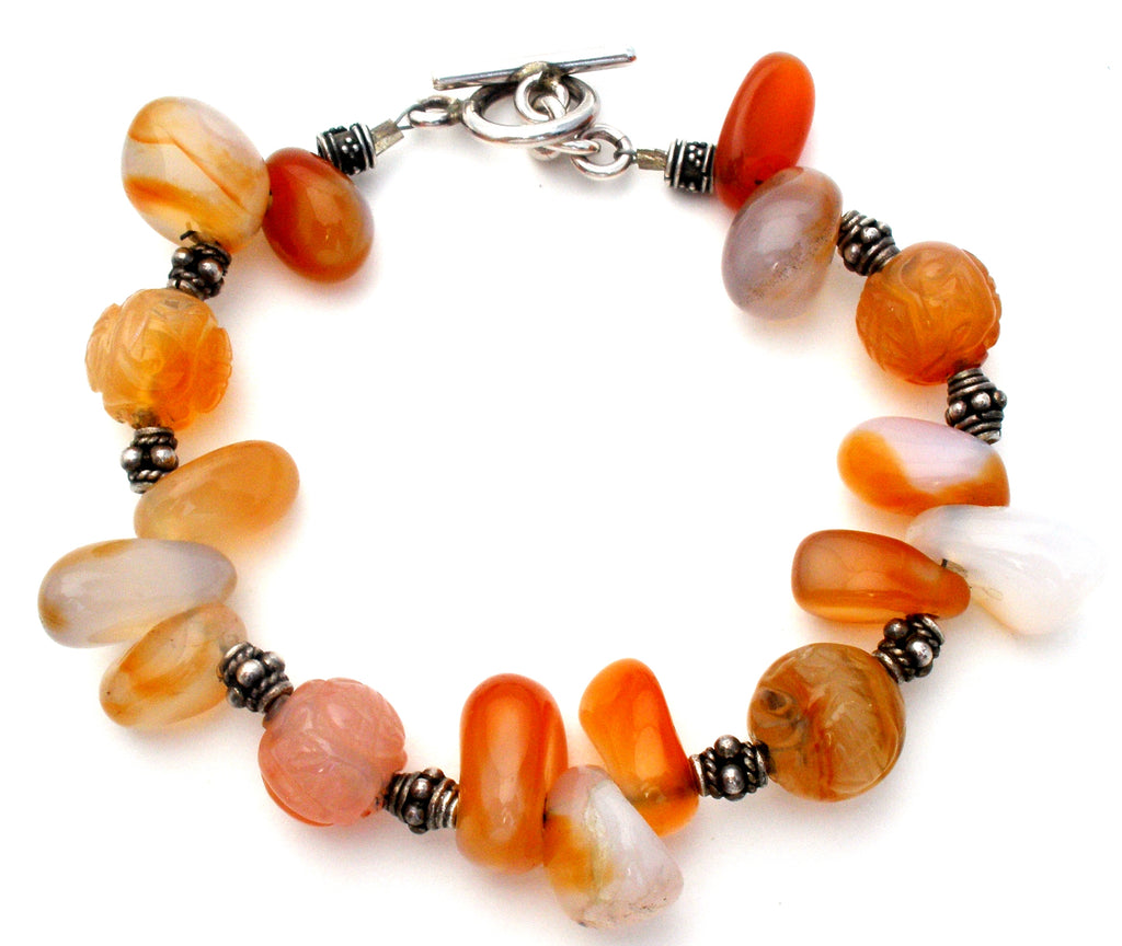 Sterling Silver Bracelet with Agate Beads Vintage - The Jewelry Lady's Store