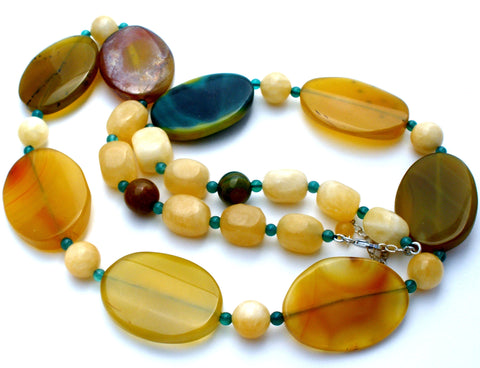 Agate & Yellow Quartz Bead Necklace 30""