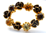 Amber & Topaz Rhinestone Vintage Brooch Pin Austria - The Jewelry Lady's Store