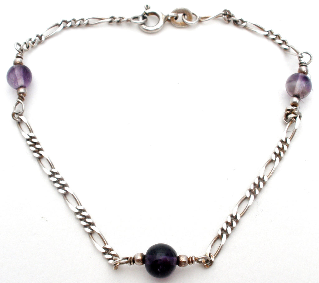 Amethyst Bead Figaro Bracelet Sterling Silver - The Jewelry Lady's Store