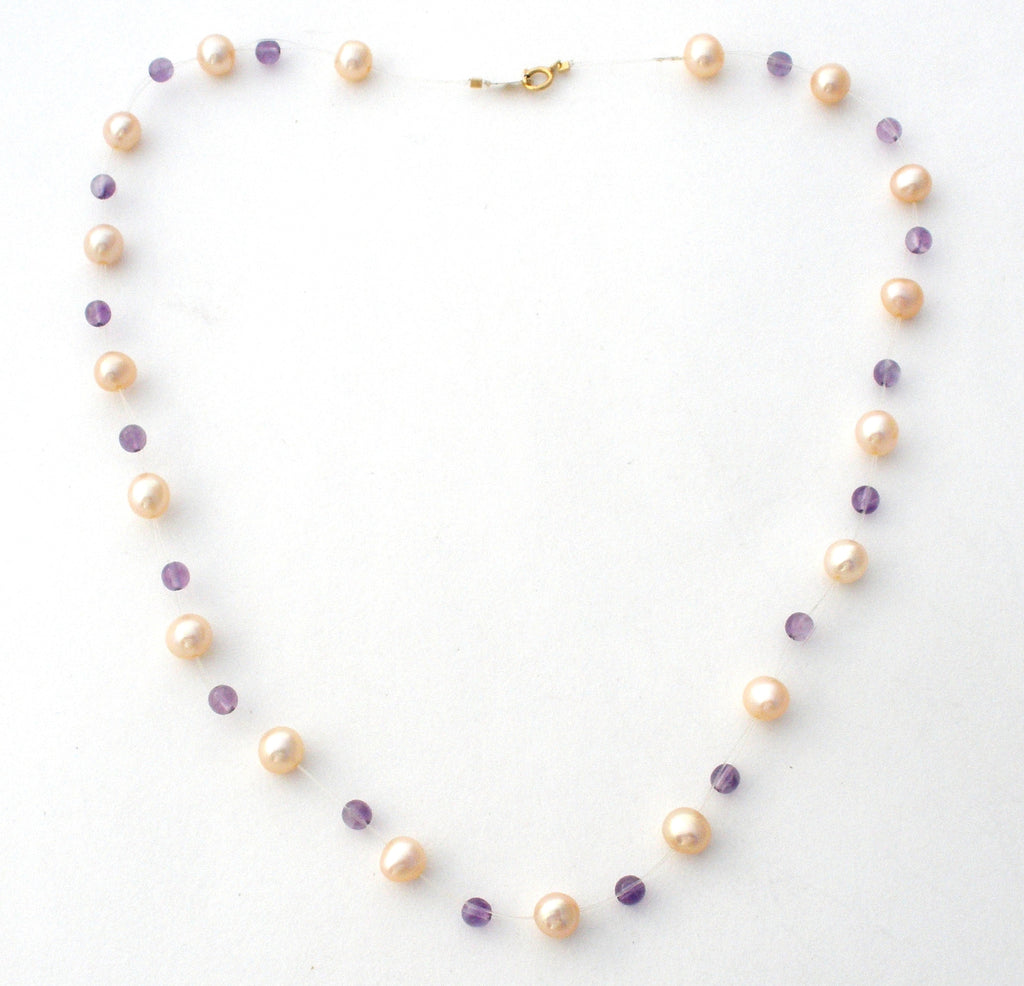 Amethyst & Pearl 14k Gold Tin Cup Necklace Vintage - The Jewelry Lady's Store